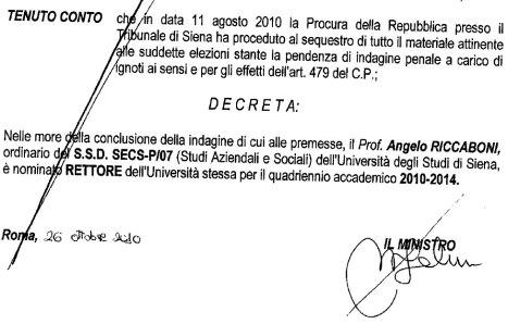 Primo decreto di nomina a rettore di Angelo Riccaboni