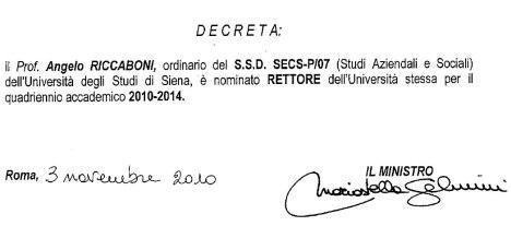Secondo decreto di nomina a rettore di Angelo Riccaboni