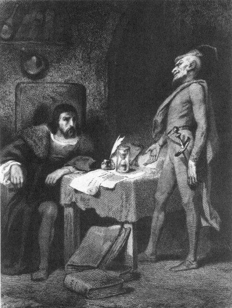 Il dott. Faust e Mefistofele, disegno di Tony Johannot
